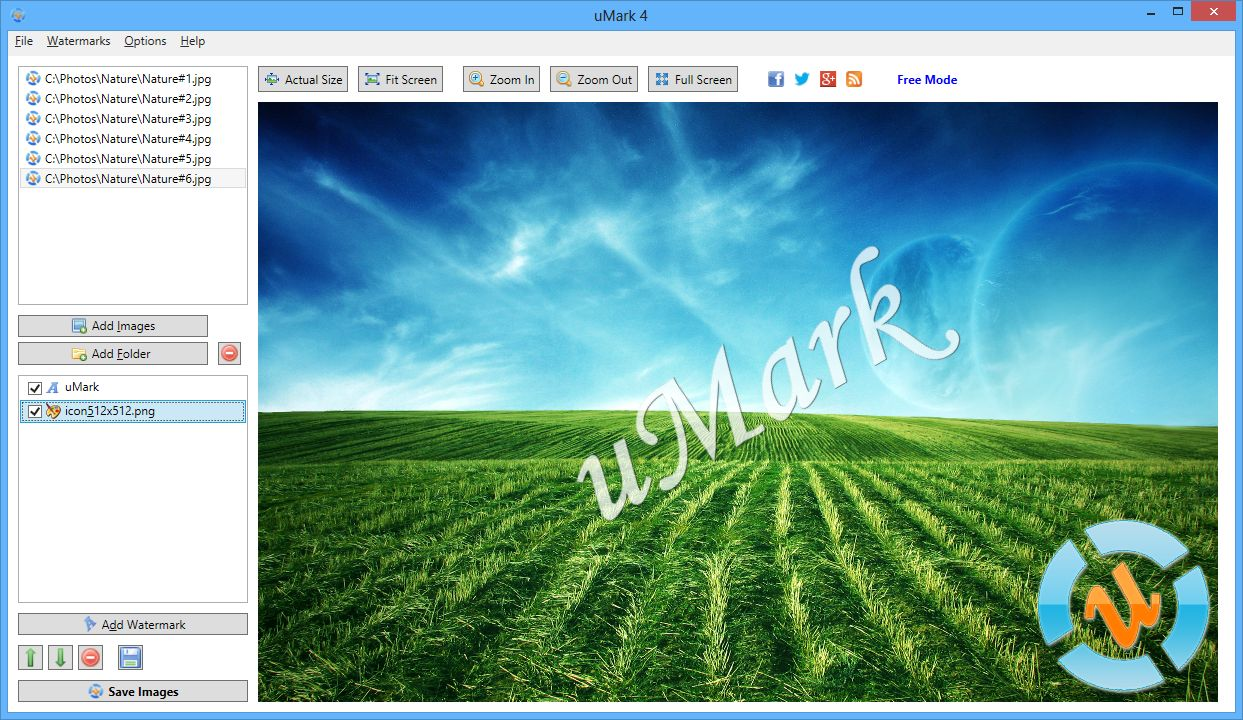 Free Watermark Software - uMark